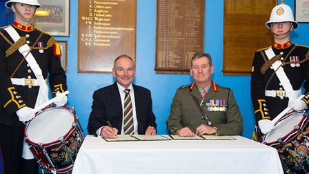 Maurice West, Plymouth Albion RFC Board Member, and Major General David Hook CBE, Royal Marines