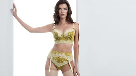 Fauve Bronte pistachio underwired padded longline bra, £74, matching thong £30 and suspender, £37