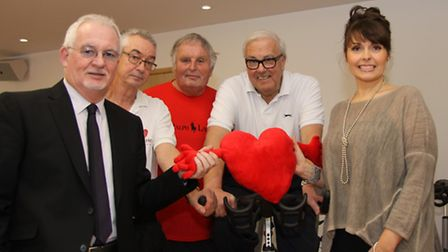 [L-R] Gerry O'Donnell, fitness instructor Steve Cooper and Sally Bee with two rehab patients