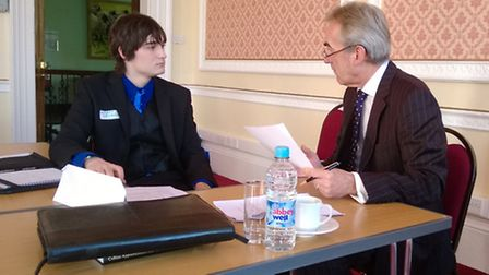 One student gets a grilling from a member of Exeter Round Table during Bicton's recent mock intervie