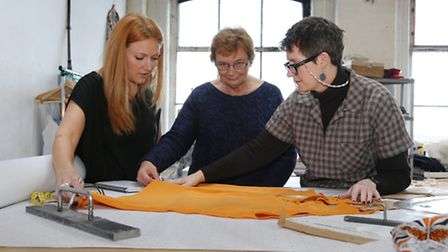 Sarah McColl with Sheila Brindle (Sample Machinist) and Catherine Gaskell (Pattern Cutter)