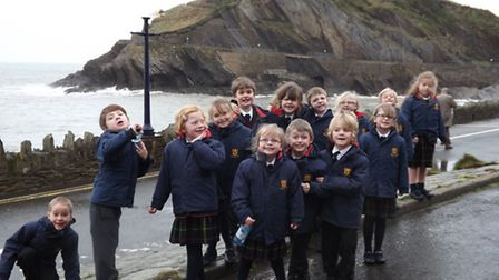 Shebbear College Class 1 and 2 on their arrival in Ilfracombe