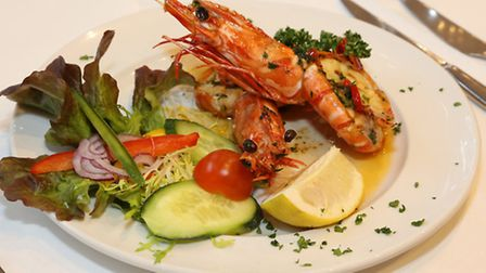 Gamberoni Grigliati- grilled giant king prawns with garlic, chilli and parsley in butter sauce