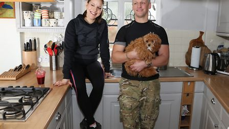 Lotte Butler and Dom Asquith and dog 'Poppy'