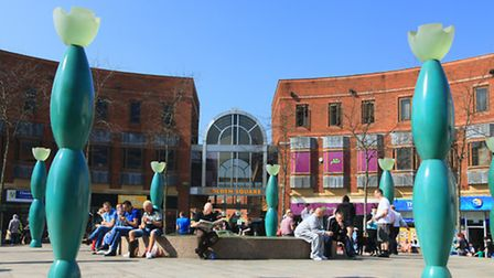 Warrington town centre and Golden Square