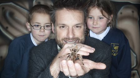 TV Star Nick Baker & Clyst St Mary pupils get up close to the Chilean Rose Tarantula