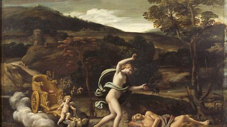 A painting of VENUS DISCOVERING THE CORPSE OF ADONIS, attributed to Antonio Carracci (1589-1618) in