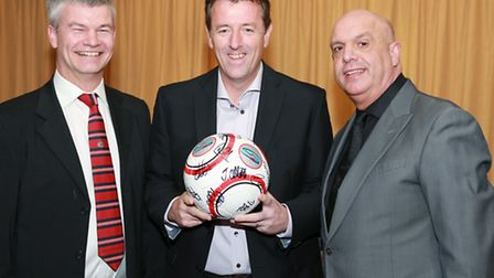 Former Southampton and England star, Matt Le Tissier (centre), with Altrincham FC Chairman, Grahame