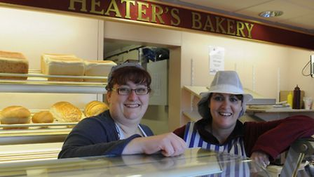Lynsey Flude, left, and her colleague Shirley Alleway at Heater's Bakery