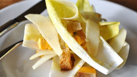 Shropshire blue cheese, pear and endive salad