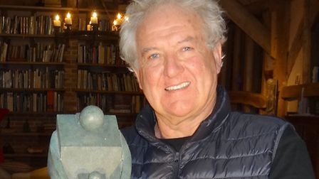 Neil with the maquette for 'Nurture'