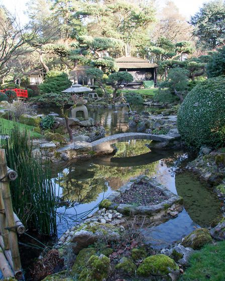 Pools and oriental structures are features of the Japanese garden