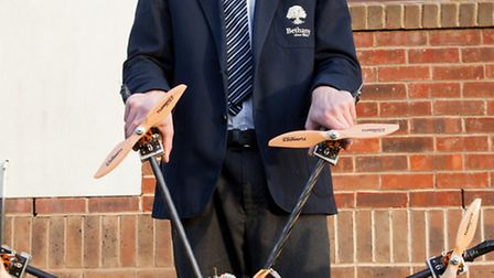 Bethany School's Casper Round and his 'Octocopter', which he uses to take aerial footage