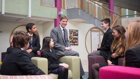Headmaster of Bede's, Dr Richard Maloney, with some of the school's students