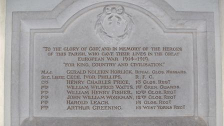 A memorial in the Church of St Mary in Cowley to those who lost their lives in the Great War (Willia