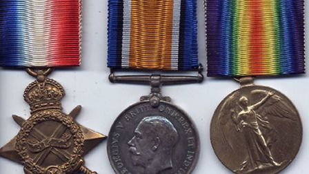 Private Fisher's war medals - the 1914-15 Star, The British War Medal and the Victory Medal