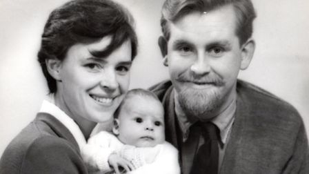 Mamie and Magnus, with Sally as a baby