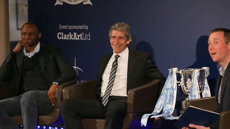 Manuel Pellegrini and Patrick Viera answering questions from guests