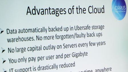 One of the slides showing the advantages of using the cloud