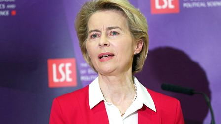 EU Commission President Ursula von der Leyen makes a speech at the London School of Economics. Photo