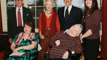 Two Hill House residents, Marianne Bain and Keith Greenway with (L-R); Lord and Lady Ashbrook, Ilya