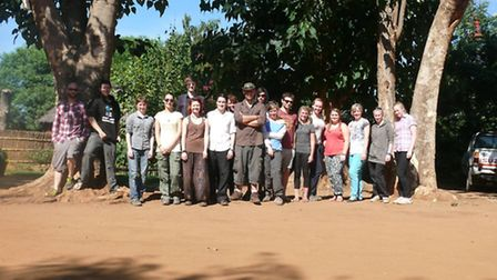 The group of 16 Bicton College students on location in Malawi. Photo by Bicton College.