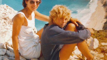 Dinah with Jamie (aged about 13) on holiday in Greece