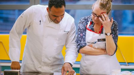 Michael Caines cooking with our assistant editor, Susan Clark
