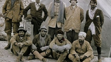 The 1924 climbing team, with Sandy Irvine back row (left) and George Mallory next to him with his fo