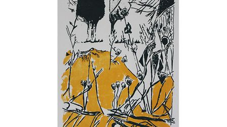 Mustard Trees print by Claire Petworth