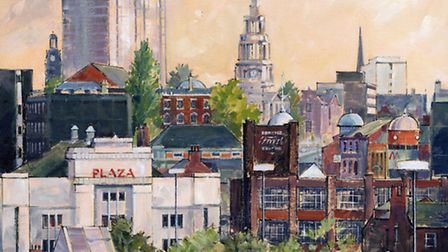 Stockport Skyscrapers, a view of Stockport town centre by artist Cliff Murphy