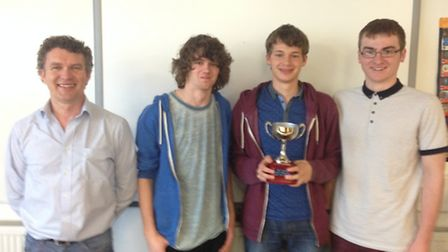 Dr Hywel Evans (Chemistry, University of Plymouth), Patrick Wellar. Owain Hughes and Isaac Martin (Y