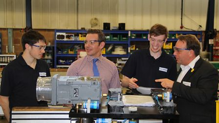 MP Neil Parish during his visit to HepcoMotion to discuss apprenticeships at the factory