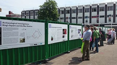 New interpretation boards on the hoardings in King's Square, Gloucester