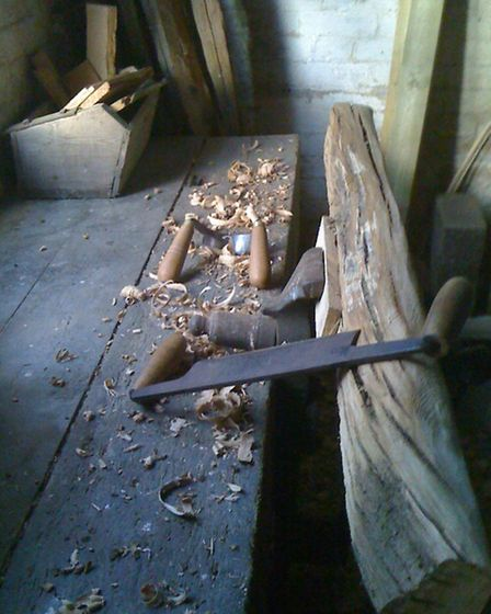 Traditional tools on Hamish' workbench