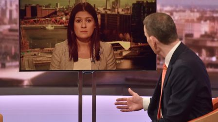 Lisa Nandy MP appearing via video link on the Andrew Marr show. Photograph: Jeff Overs/BBC/PA Wire.