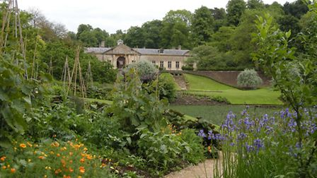 Dyrham garden with a view of the house