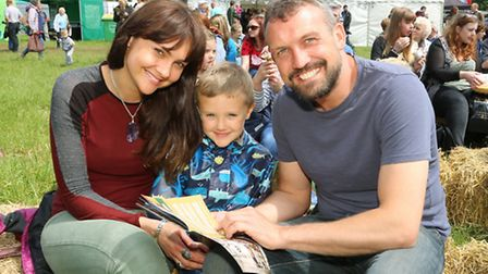 Event organiser, Claremont Farm's Andrew Pimbley, with his partner, Holly Turner and her son, Blaize