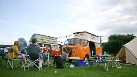 A campervan camp at the lakeside
