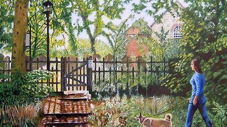 Transcendence, Esher or Walking the dog by John A Walker, a painter living in Esher