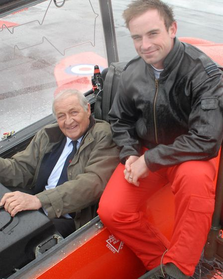 Former Red Arrow Sqn Ldr Henry Prince with current Red 7 Flt Lt Mark Lawson at the Media Launch for