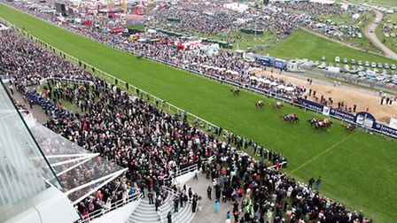 The finish line at Epsom Downs Racecourse