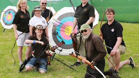 Members of the Alsager Company of Archers; Tracy Shufflebottom, Avril Bourke, John Lewis, Emily S