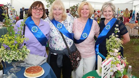 WI members Eva Palmer and Mary Morris of Prestbury with Sue Chorley and Eileen Spurling from Penketh