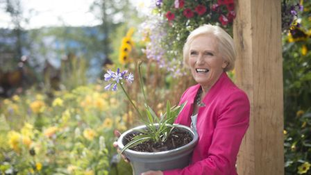 Mary Berry poses at Hampton Court Palace Flower Show