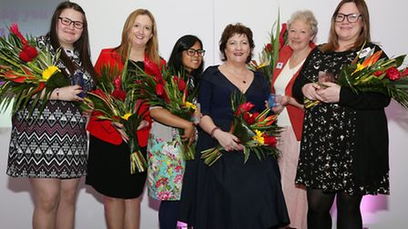 Awards Founder and Organiser, Jacqueline Hughes-Lundy with The 2014 Inspiring Women Award Winners; J