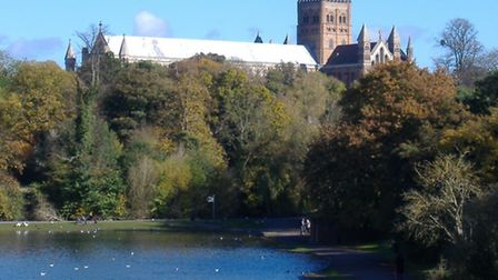 St Albans abbey from the park