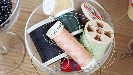 Coloured cottons are used for stitching