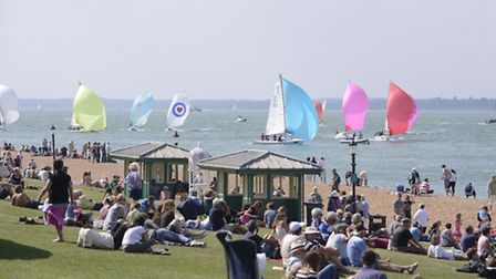 Crowds watching the race at Cowes Week. Getty Images