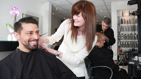 Armand Beasley with stylist Nichola Nuttall at Anthony James Hair Salon in Oxford Road